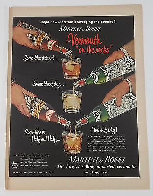 """1954 Martini & Rossi """"Vermouth On The Rocks"""" Glass Bottle Art Vintage Print Ad"""