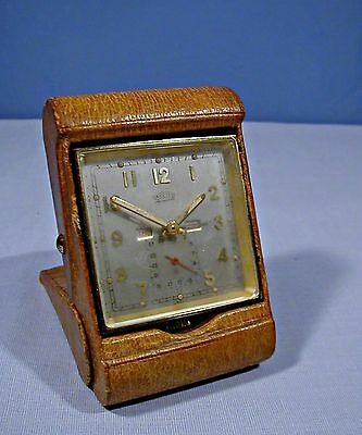 VINTAGE ANGELUS 8 DAY SWISS, 15 JEWEL~ TRAVEL ALARM CLOCK ~ RESTORE or PARTS