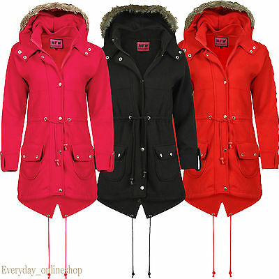 Girls Kids Parka Fleece Jacket Trench Winter Autumn Coat Hooded Faux Fur 7-13y