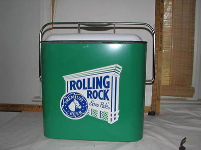 Rolling Rock Metal Cooler Green weith white top very nice