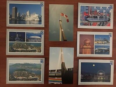 Expo 86 six postcard lot & two photos -  Vancouver BC Canada World Exposition