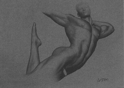 """ORIGINAL NUDE MALE  FIGURE """"EXPOSED"""" 5x7  MIXED MEDIA PAINTING DRAWING  NR"""