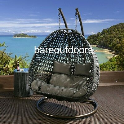 Double Seater Hanging Pod Chair - Black Wicker with Black Cushions