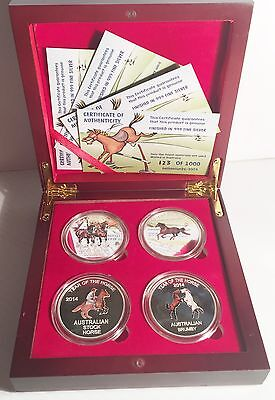 2014 Boxed Set of 4 x 1 oz Year Of The Horse Coins Limited to only 1000