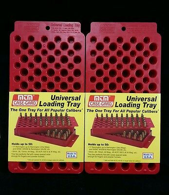 MTM Universal Loading Tray / Case Holds Up To 50 Popular Calibers Set Of 2