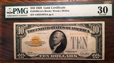 1928 $10.00 Gold Certificate. FR#2400, Very Fine-30 by PMG. Beautiful.