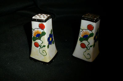 VINTAGE~WHITE CERAMIC~SALT & PEPPER SHAKERS~Blue Orange Yellow~Made in JAPAN