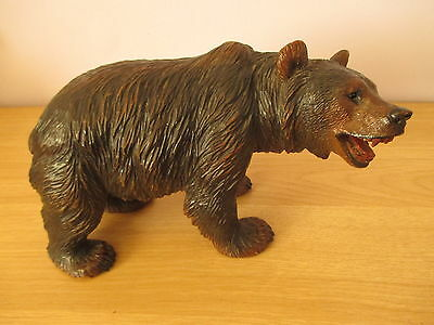 """Antique Large Quality 10.75"""" Black Forest Swiss Carved Strolling Bear Wood"""