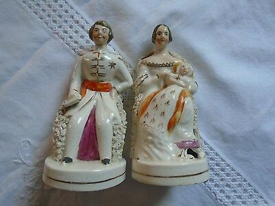 Antique Staffordshire Queen  Victoria And Prince Albert Figurines