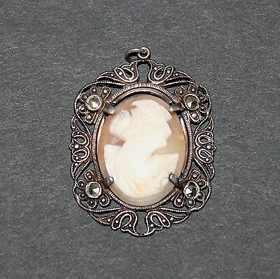 Vintage Sterling Silver Cameo Pendant Marcasite