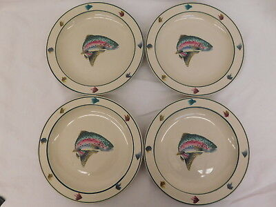 Scotty Z Folkcraft Rainbow Trout Stoneware Four 8.5 Dessert Salad Plate Set Of 4