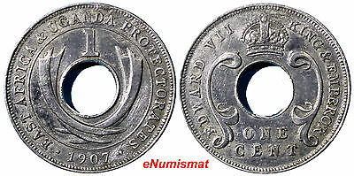 East Africa Edward VII Aluminum 1907 1 Cent Center hole XF Condition KM# 5