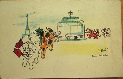 Dogs of Paris 1940s Artist-Signed Postcard: Dressed/Anthropomorphic Dogs