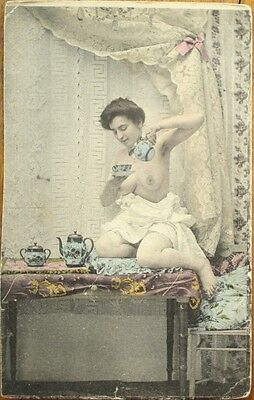 Nude/Topless Woman Pouring Tea - 1903 Risque French Postcard