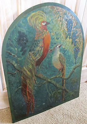 """Rich 28"""" Vintage Exotic Bird Oil Painting, Fireplace Screen, Wall Art, c1920's"""