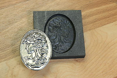 Vintage Woman Silver graphite mold for gold copper Pewder foundry GLASS works