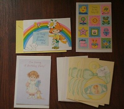 Vintage 1980's Girls Baby Thank You & Invitation Party Birthday Greeting Cards 8