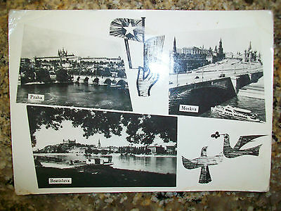 VINTAGE Praha (PRAGUE), Bratislava & Moskva (MOSCOW) in one, old & posted card