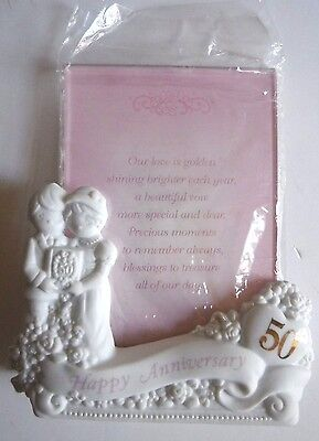 Precious Moments 50th Anniversary Picture Frame Porcelain 4 x 6 Photo Holder