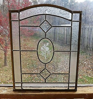 Vintage Stained Glass  Window Panel Roses Bevels Leaded Clear Etched Kitchen NR