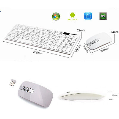 White 2.4G Optical Desktop Wireless Keyboard and Mouse USB Receiver For PC