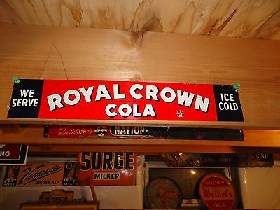 """ANTIQUE ORIGINAL EMBOSSED ROYAL CROWN COLA TACKER SIGN APPROX. 19.5"""" x 3.5"""""""