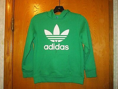 Authentic Youth Adidas Green Pull Over Hoodie Size Small (missing size label)