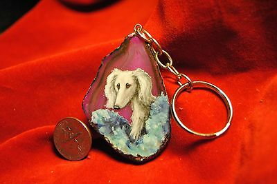 Original Painting~Saluki~Hand Painted~Dog Portrait~Agate Keychain~miniature