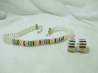 Vintage White Plastic Choker Necklace w/Multi Color Seed Beads & Clip Earrings