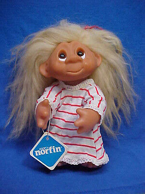"VTG DAM TROLL Doll Li'l Nighty Girl Nightgown Original 9"" NORFIN Denmark 1977"