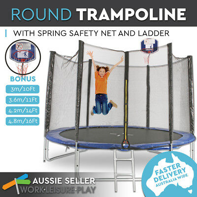 4 Sizes Round Trampoline Free Basketball Set Safety Net Spring Pad Cover Ladder