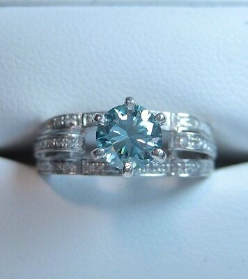 0.92 CT Natural Blue Moissanite and Diamond Engagement Ring