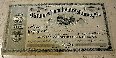 1887 Dictator Consolidated Mining Co Stock Certificate Nevada + Gas Works Photo