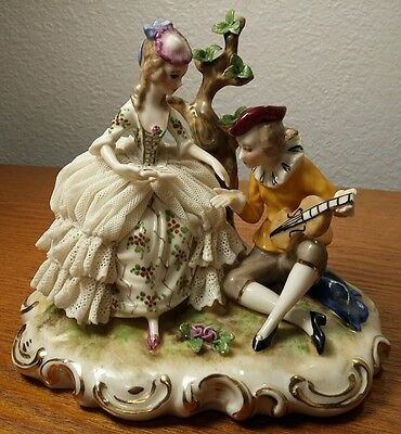 Ackerman & Fritze Volkstedt Lace Figurine Group- Man & Woman