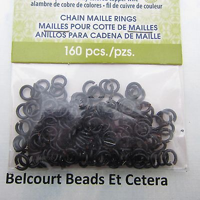 Chain Maille 3.57mm Black Plated Copper Wire 18ga 150 pc.  Rings Artistic Wire