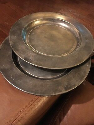 """2 Antique 18th Century 9"""" Pewter Plates With Marks"""
