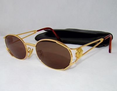 GIANNI VERSACE vintage brown G98 sunglasses man women gold baroque oval 313