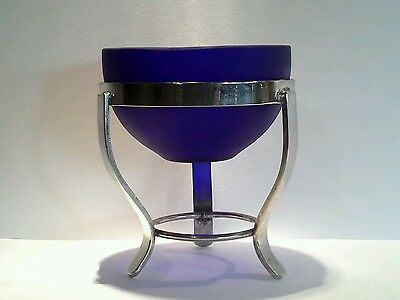 Vintage Cobalt Blue Glass Bowl and Silverplated Stand