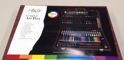 Set of 167 Art Wooden Box Pencils Drawing Colour Colored Charcoal Stylish Case