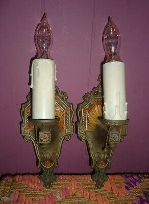 Pair Vintage Biltmore Gothic  Cast Metal Wall Sconces