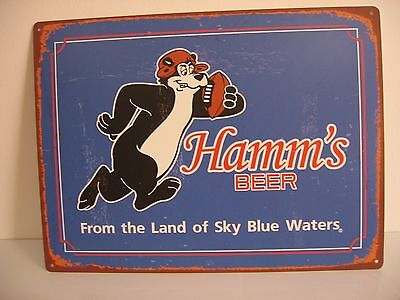 """Hamms Bear Beer Sign Metal 24""""x18"""" 4 Predrilled Holes For Easy Hanging"""