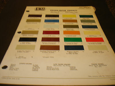 1970 Mercury, Cougar & Montego Paint Chips Page from Rinshed -Mason Paint