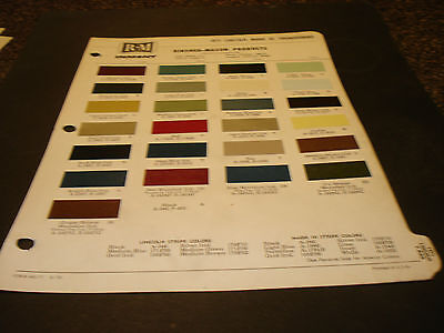 1971 Lincoln, Mark III & Thunderbird Paint Chips Page from Rinshed-Mason Paint
