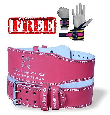 "ISLERO 6"" 4"" Ladies Pink Pure Leather Gym Belts Weightlifting Back Support Strap"