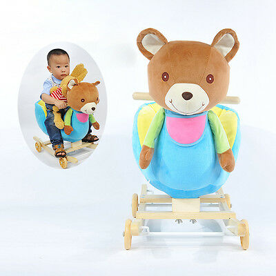 Kids Animal Rocker with Wheels Children Ride On Toy Plush Rocking Chair