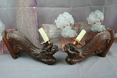 Exclusive XL Pair Chinese Foo Dogs sconces wood carved lamps 19th c dragons