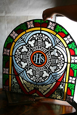 XL rare Gorgeous 1850 French Religious Church Chapel Stained glass window panel