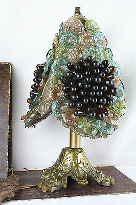 Gorgeous 1960 Murano glass art grapes flowers lamp rare