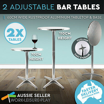 2 x Bar Table Aluminium Adjustable Two Height Garden Outdoor Indoor Cafe Round
