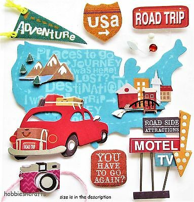 Ek Success Jolee's Boutique 3-D Stickers - Holiday Vacation  - Usa Road Trip